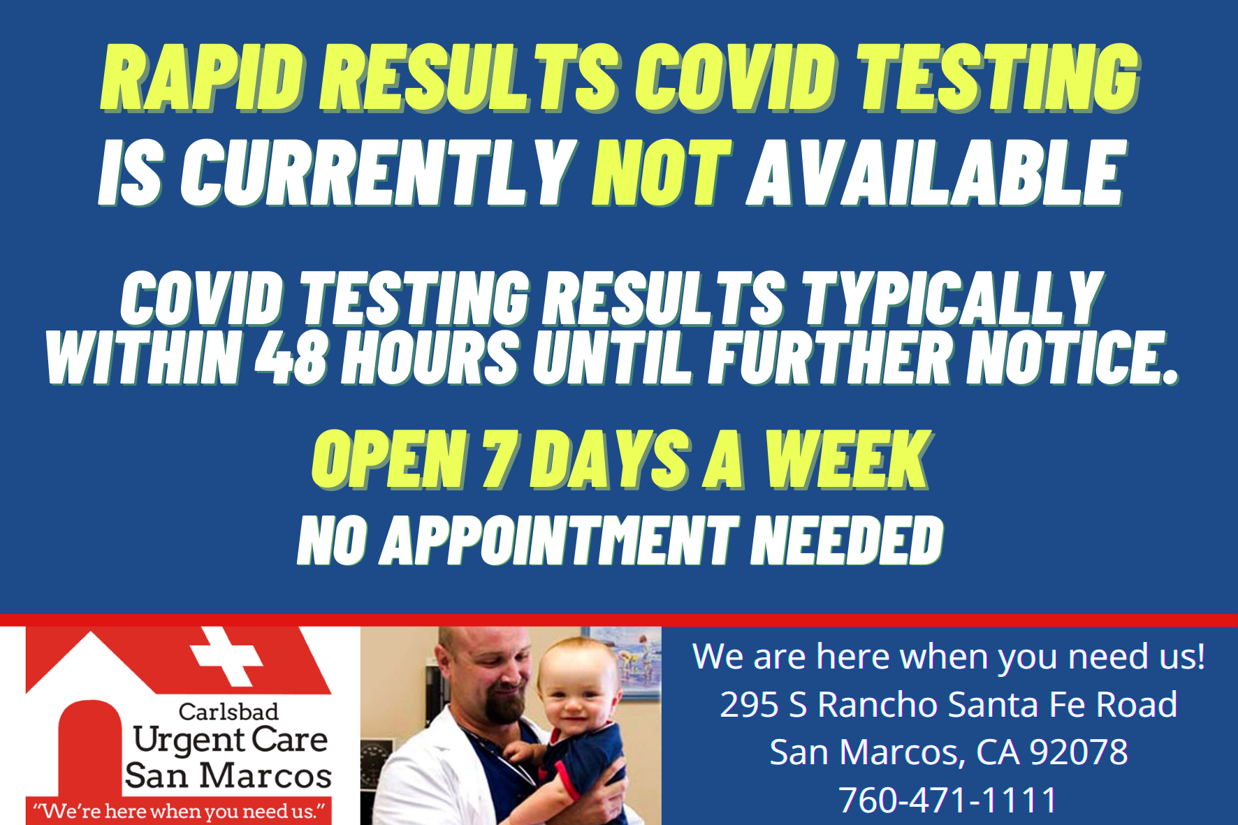 Copy of Yellow Rapid Results Covid Testing San Marcos Urgent Care Facebook Instagram