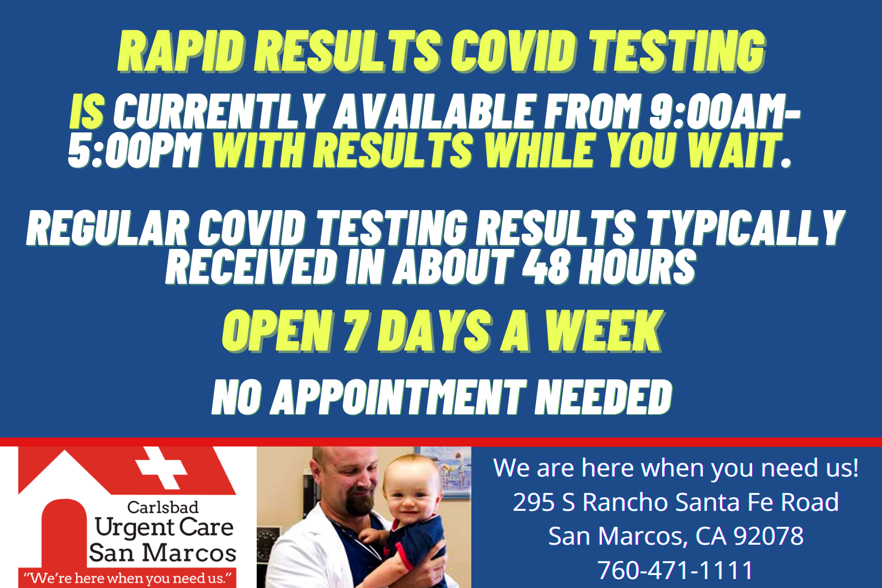 Yellow Rapid Results Covid Testing 9_00-5_00 San Marcos Urgent Care Facebook Instagram