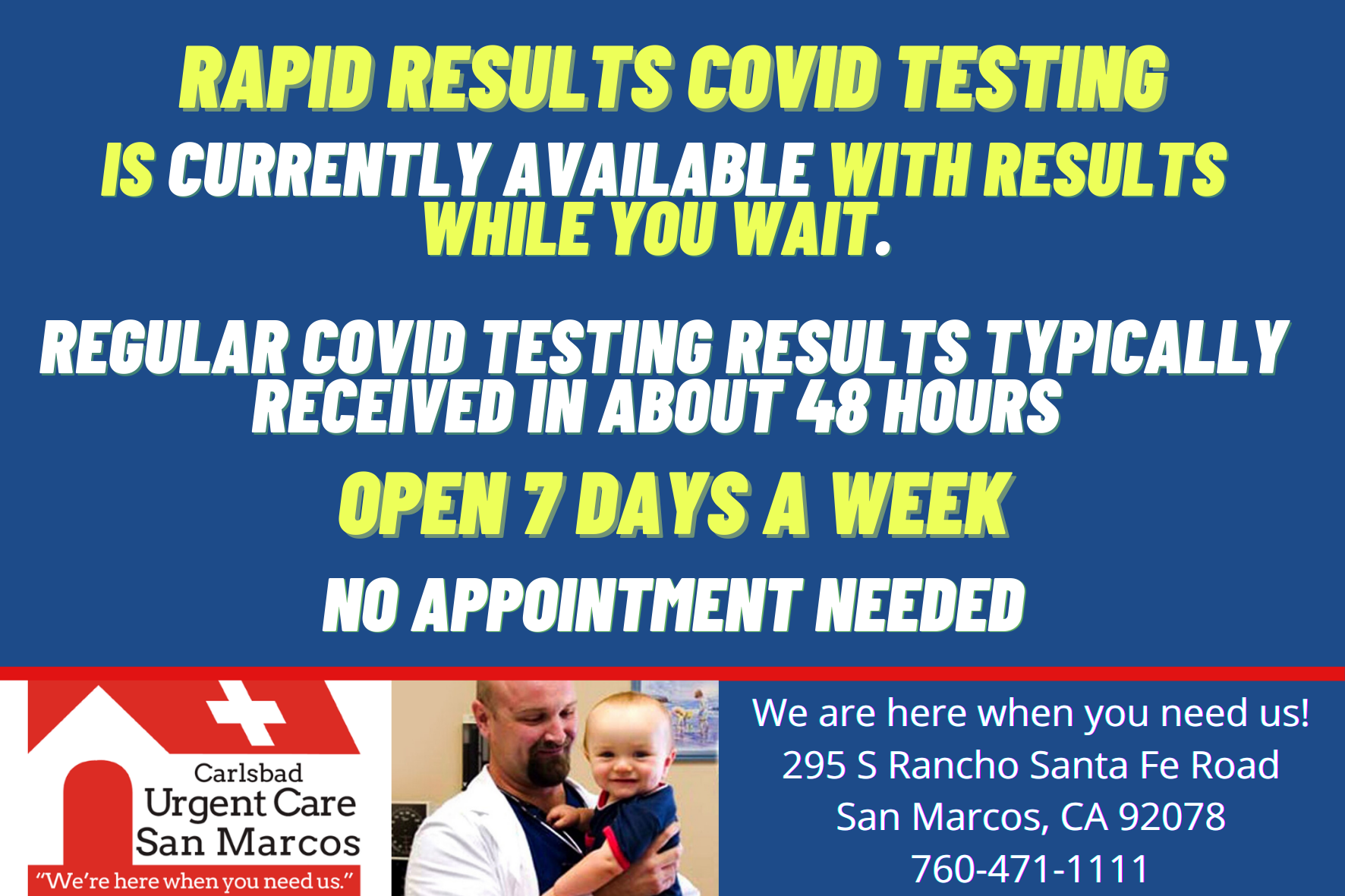 San Marcos Urgent Provides Rapid Results Covid Testing San Marcos Urgent Care Every Day